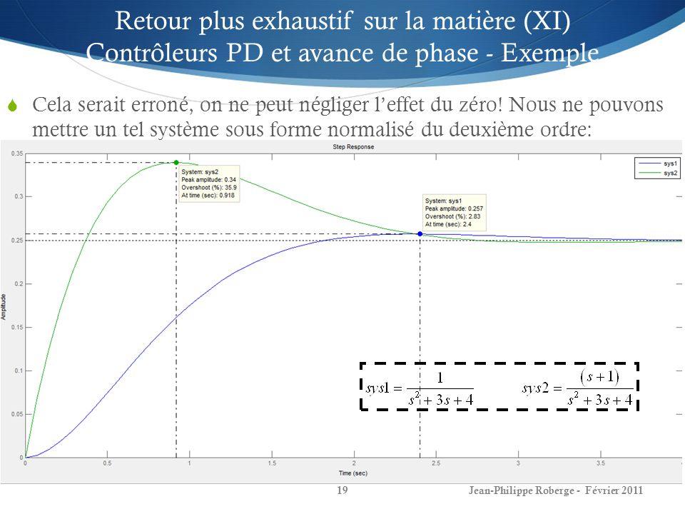 Retour plus exhaustif sur la matière (XI) Contrôleurs PD et avance de phase - Exemple