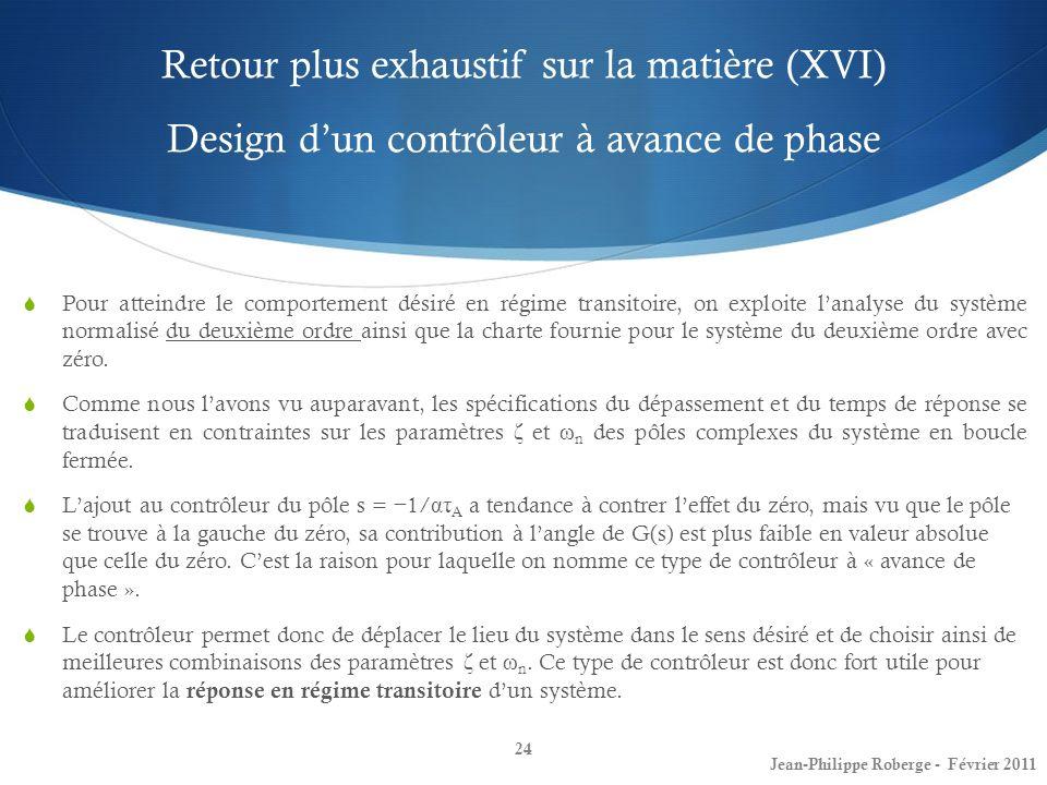 Retour plus exhaustif sur la matière (XVI) Design d'un contrôleur à avance de phase