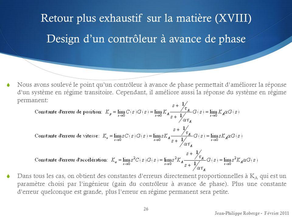 Retour plus exhaustif sur la matière (XVIII) Design d'un contrôleur à avance de phase