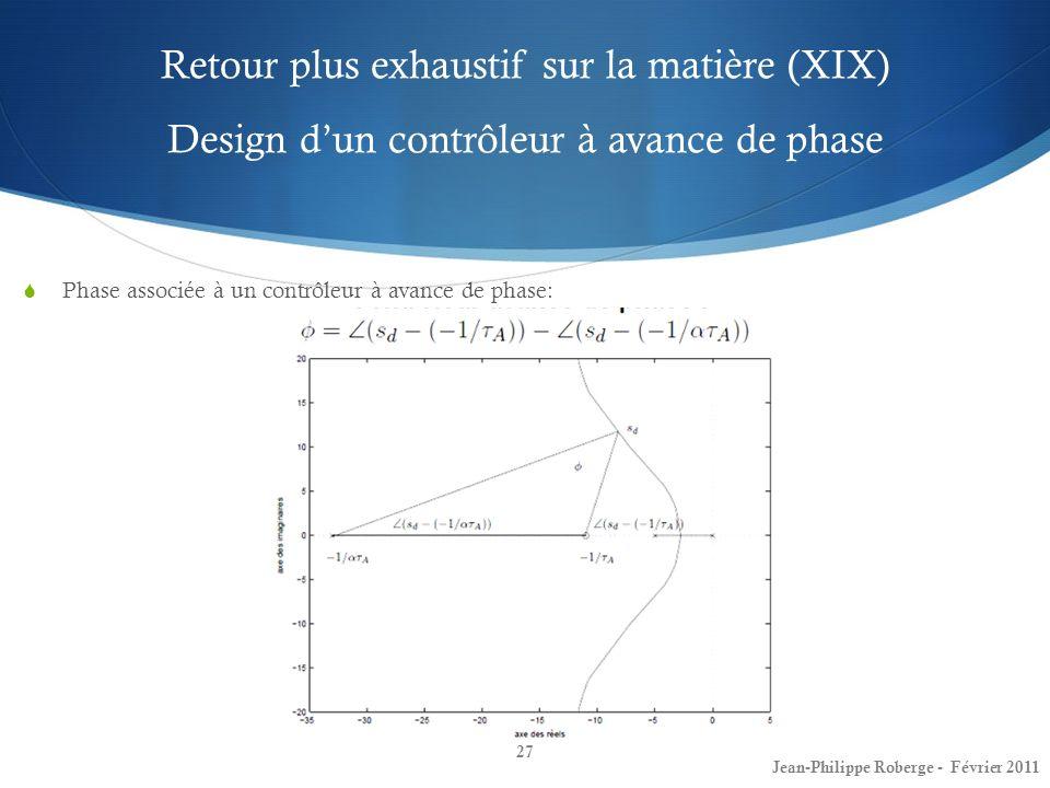 Retour plus exhaustif sur la matière (XIX) Design d'un contrôleur à avance de phase