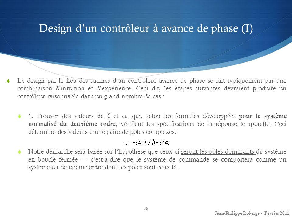 Design d'un contrôleur à avance de phase (I)