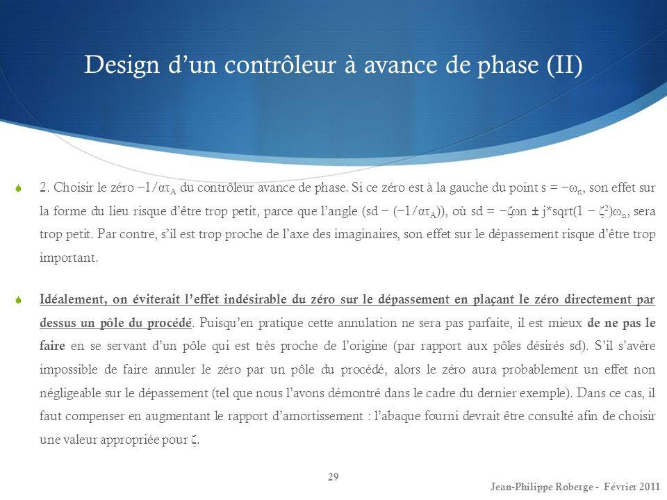 Design d'un contrôleur à avance de phase (II)