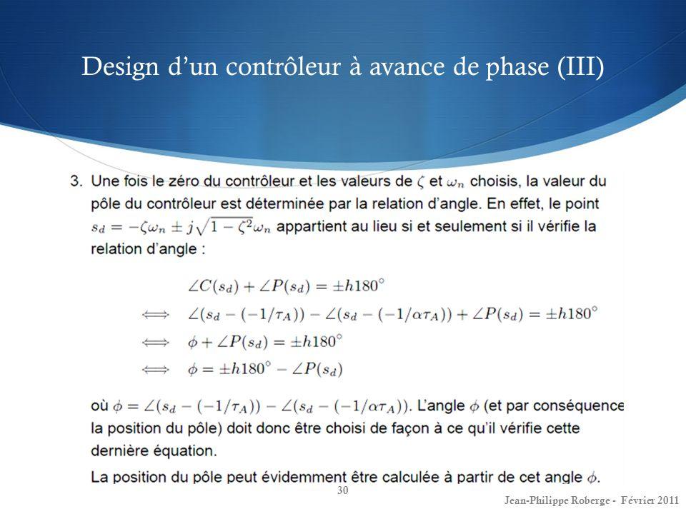 Design d'un contrôleur à avance de phase (III)