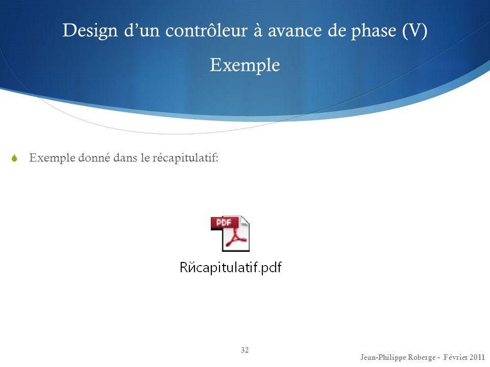 Design d'un contrôleur à avance de phase (V) Exemple