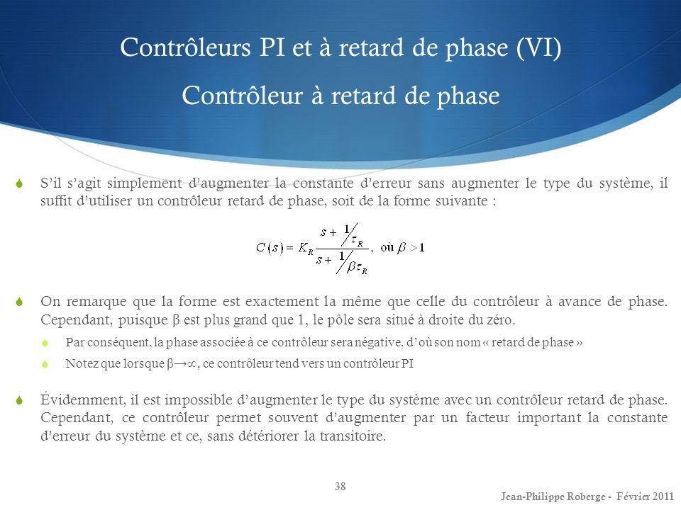 Contrôleurs PI et à retard de phase (VI) Contrôleur à retard de phase