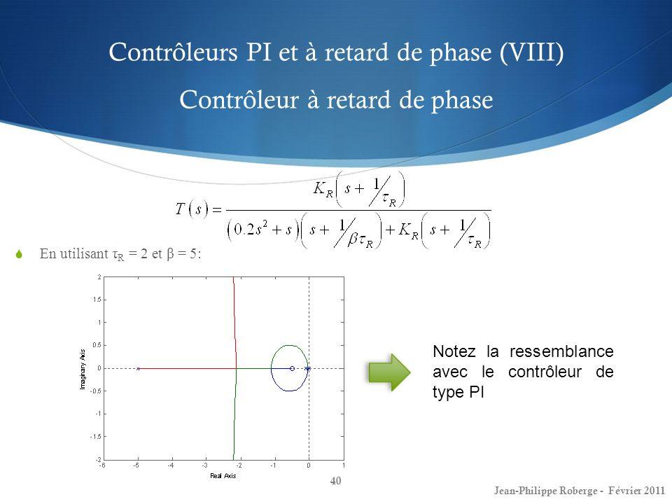 Contrôleurs PI et à retard de phase (VIII) Contrôleur à retard de phase