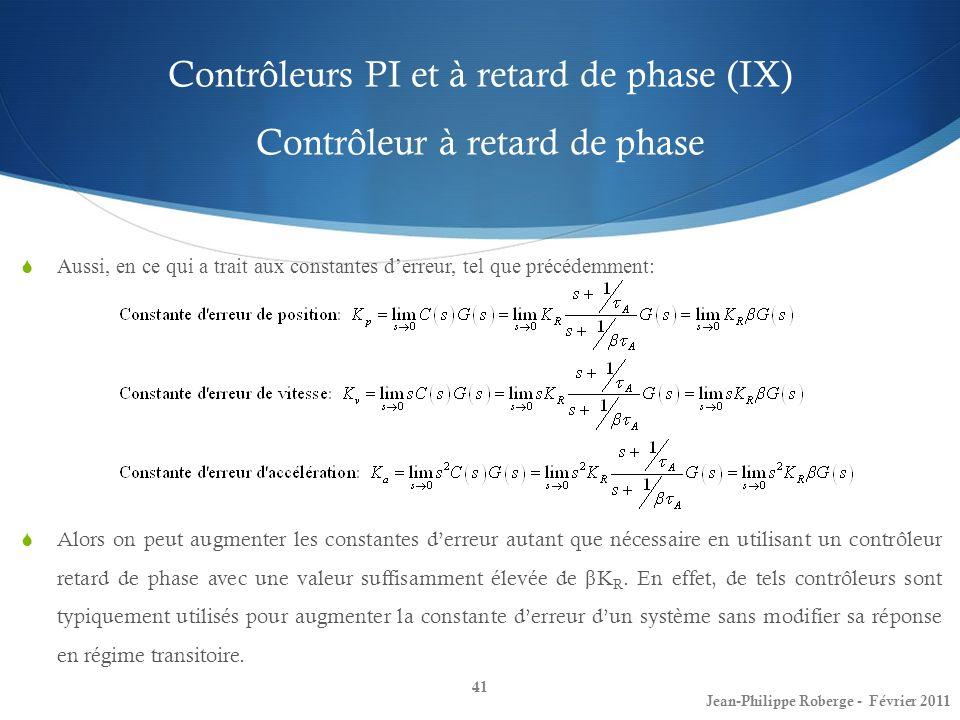 Contrôleurs PI et à retard de phase (IX) Contrôleur à retard de phase