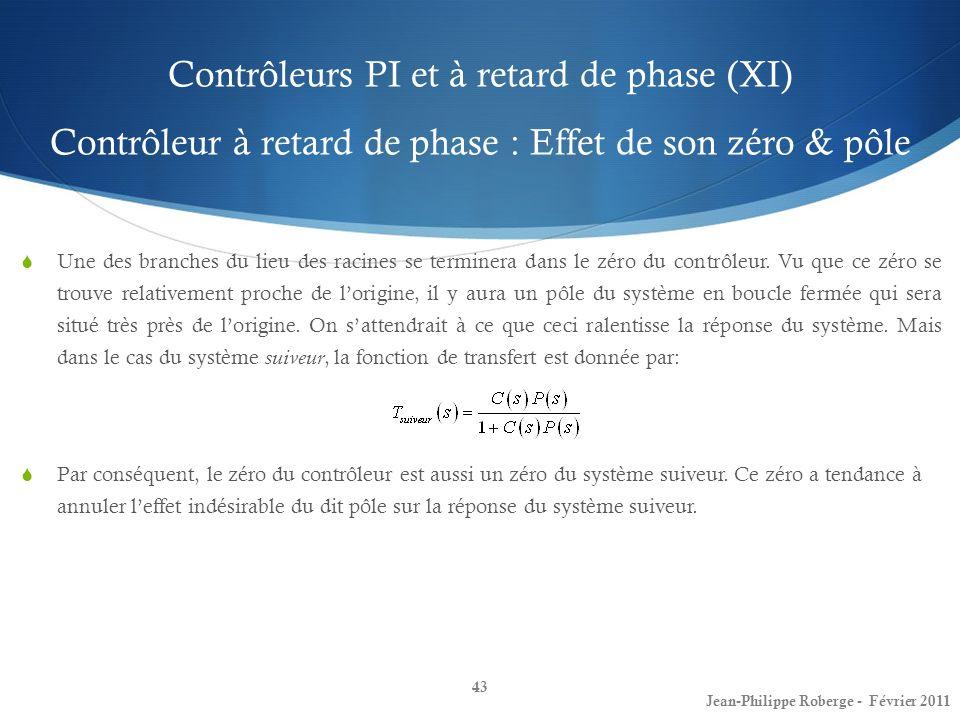 Contrôleurs PI et à retard de phase (XI) Contrôleur à retard de phase : Effet de son zéro & pôle