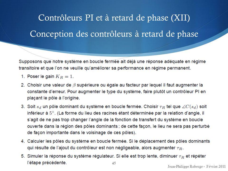 Contrôleurs PI et à retard de phase (XII) Conception des contrôleurs à retard de phase