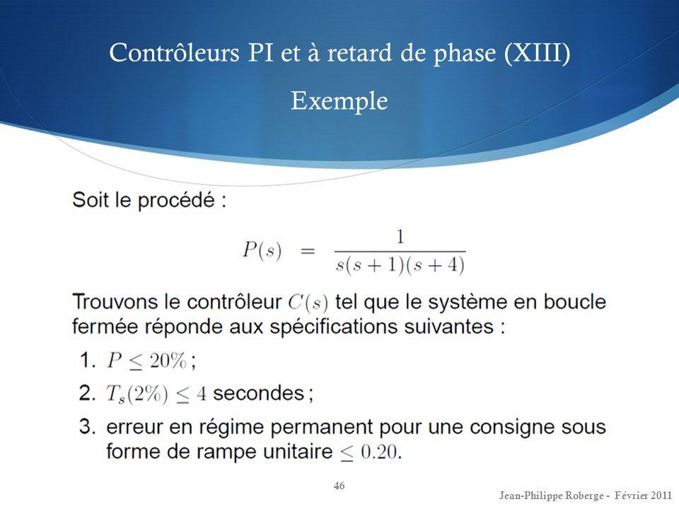 Contrôleurs PI et à retard de phase (XIII) Exemple
