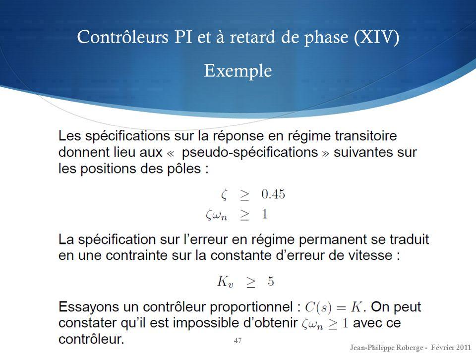 Contrôleurs PI et à retard de phase (XIV) Exemple