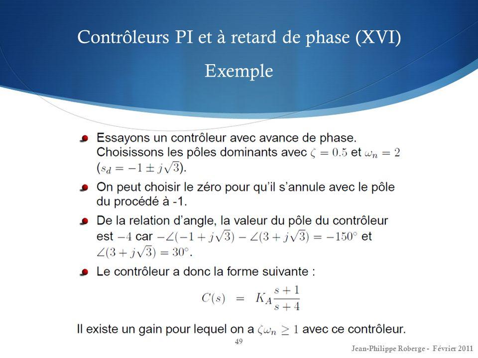 Contrôleurs PI et à retard de phase (XVI) Exemple