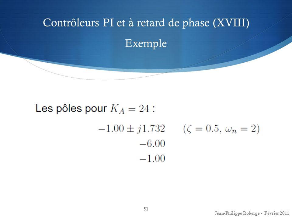 Contrôleurs PI et à retard de phase (XVIII) Exemple