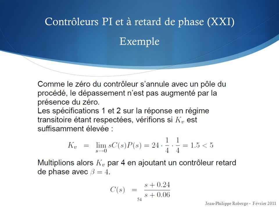 Contrôleurs PI et à retard de phase (XXI) Exemple