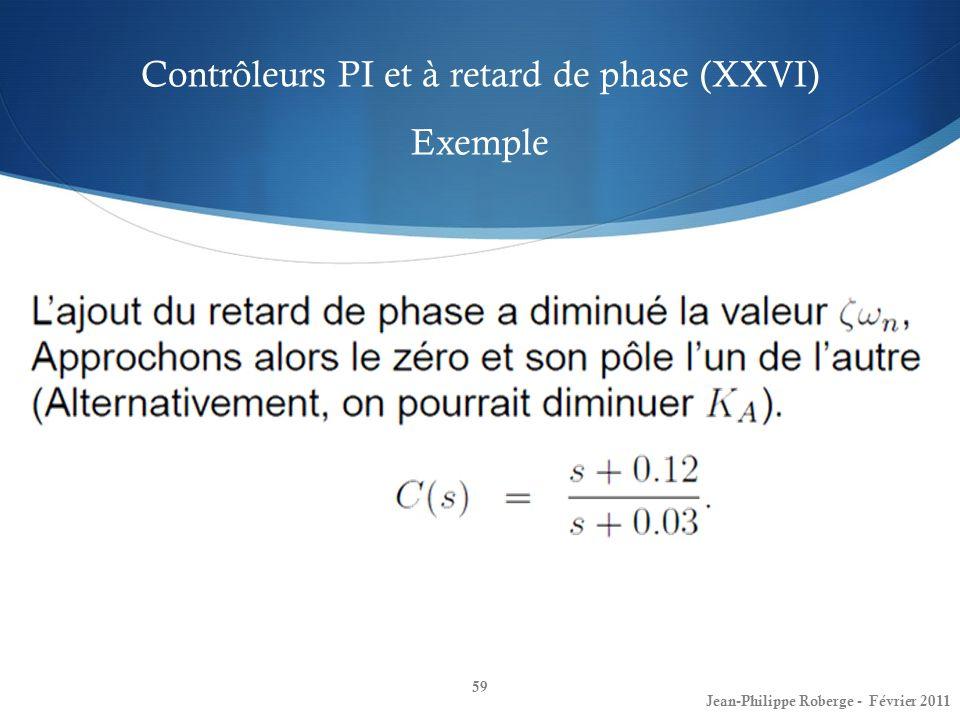 Contrôleurs PI et à retard de phase (XXVI) Exemple