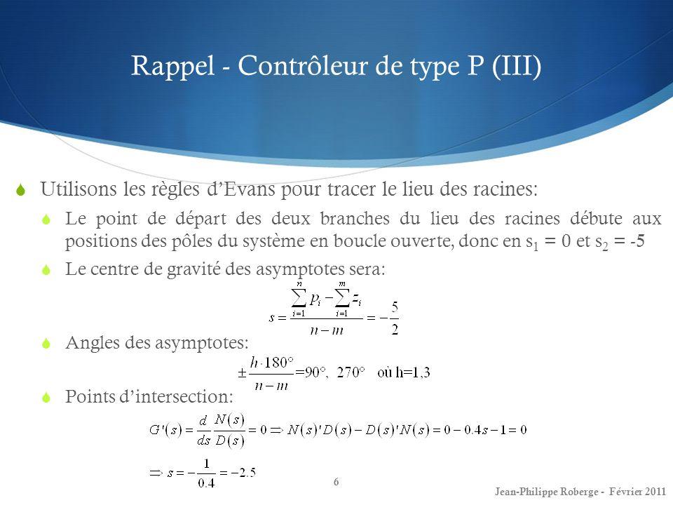 Rappel - Contrôleur de type P (III)