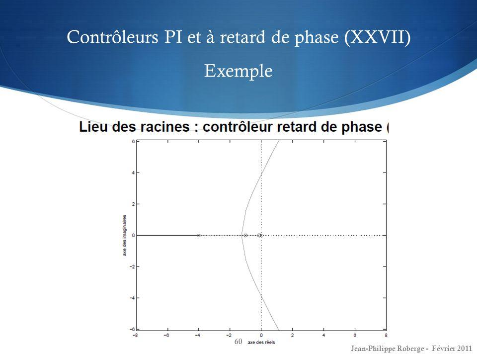 Contrôleurs PI et à retard de phase (XXVII) Exemple