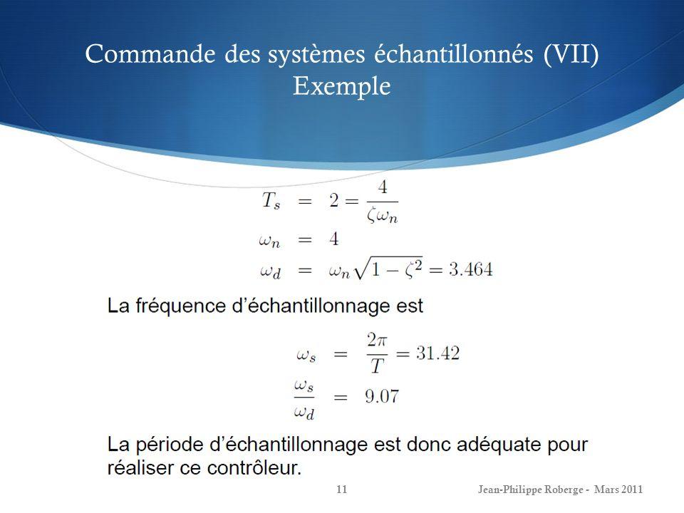 Commande des systèmes échantillonnés (VII) Exemple
