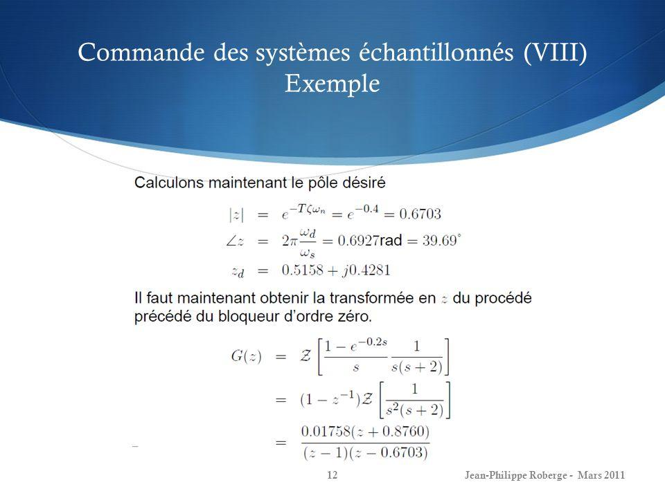 Commande des systèmes échantillonnés (VIII) Exemple