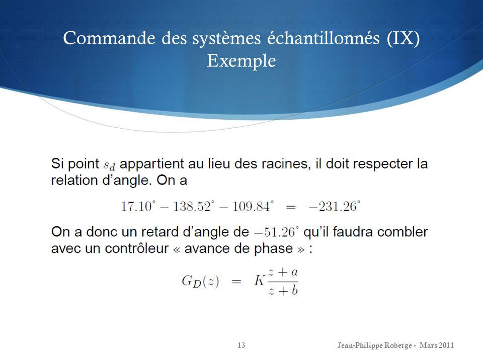 Commande des systèmes échantillonnés (IX) Exemple