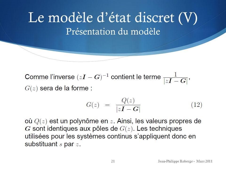 Le modèle d'état discret (V) Présentation du modèle