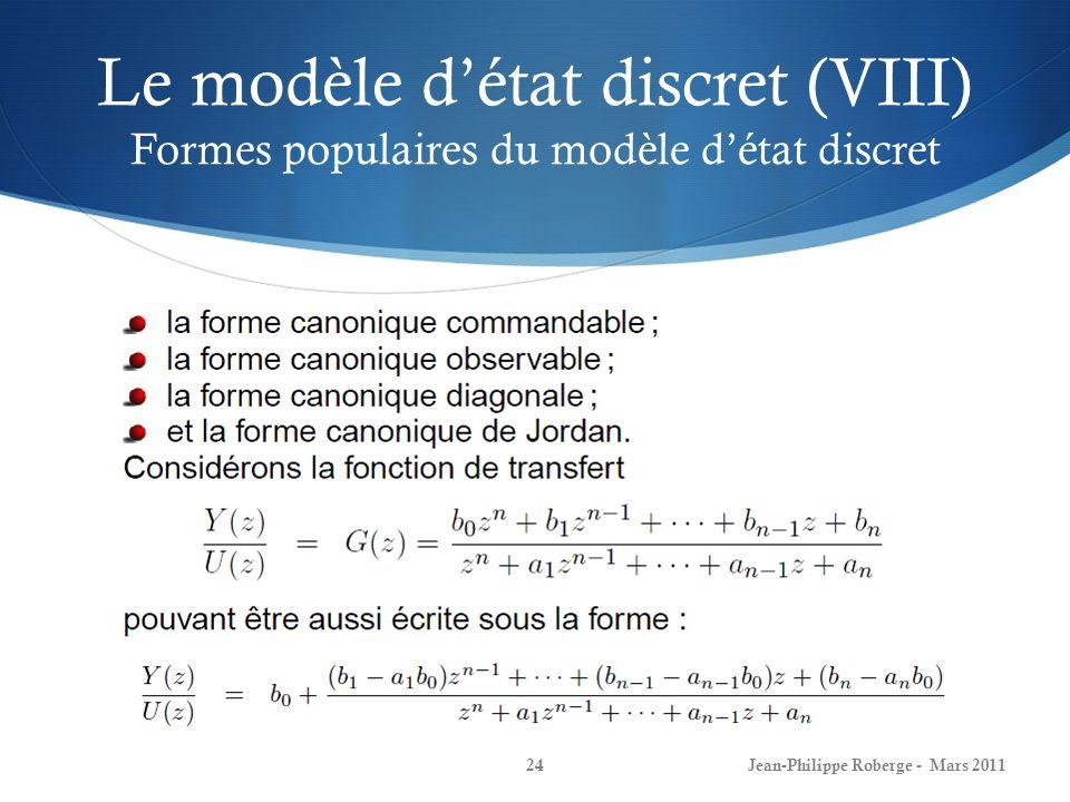 Le modèle d'état discret (VIII) Formes populaires du modèle d'état discret