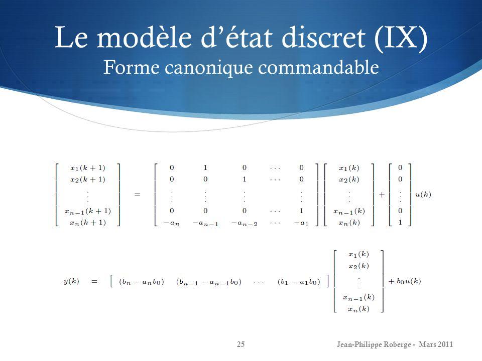 Le modèle d'état discret (IX) Forme canonique commandable