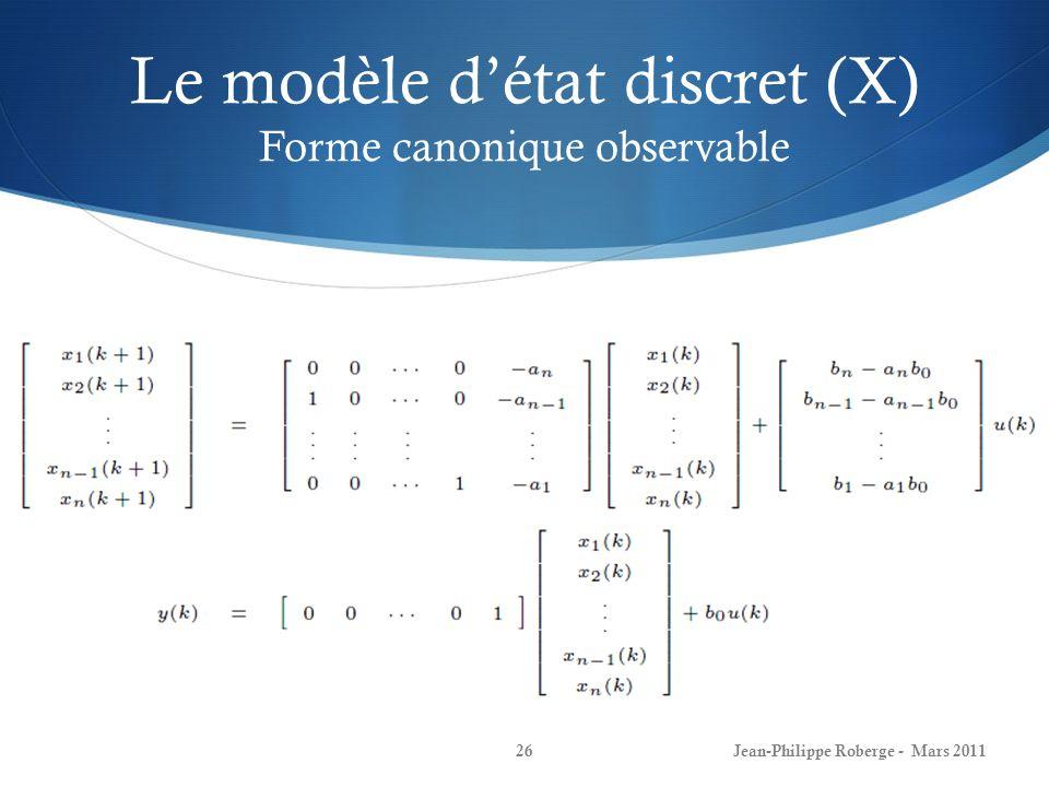 Le modèle d'état discret (X) Forme canonique observable