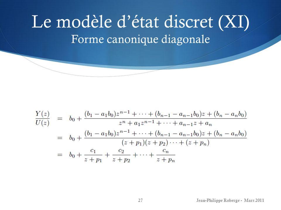 Le modèle d'état discret (XI) Forme canonique diagonale