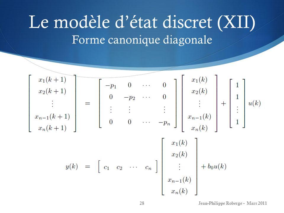 Le modèle d'état discret (XII) Forme canonique diagonale