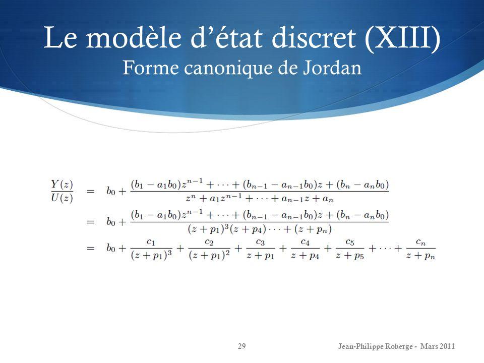 Le modèle d'état discret (XIII) Forme canonique de Jordan