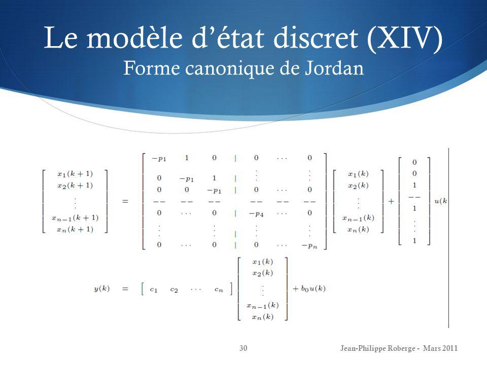 Le modèle d'état discret (XIV) Forme canonique de Jordan