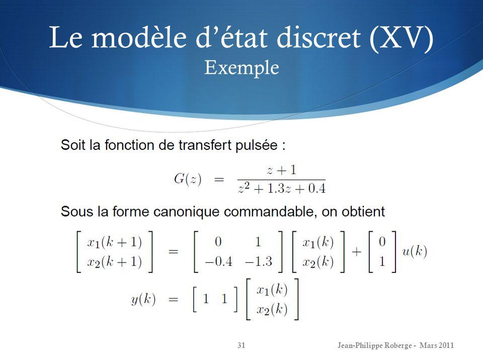 Le modèle d'état discret (XV) Exemple