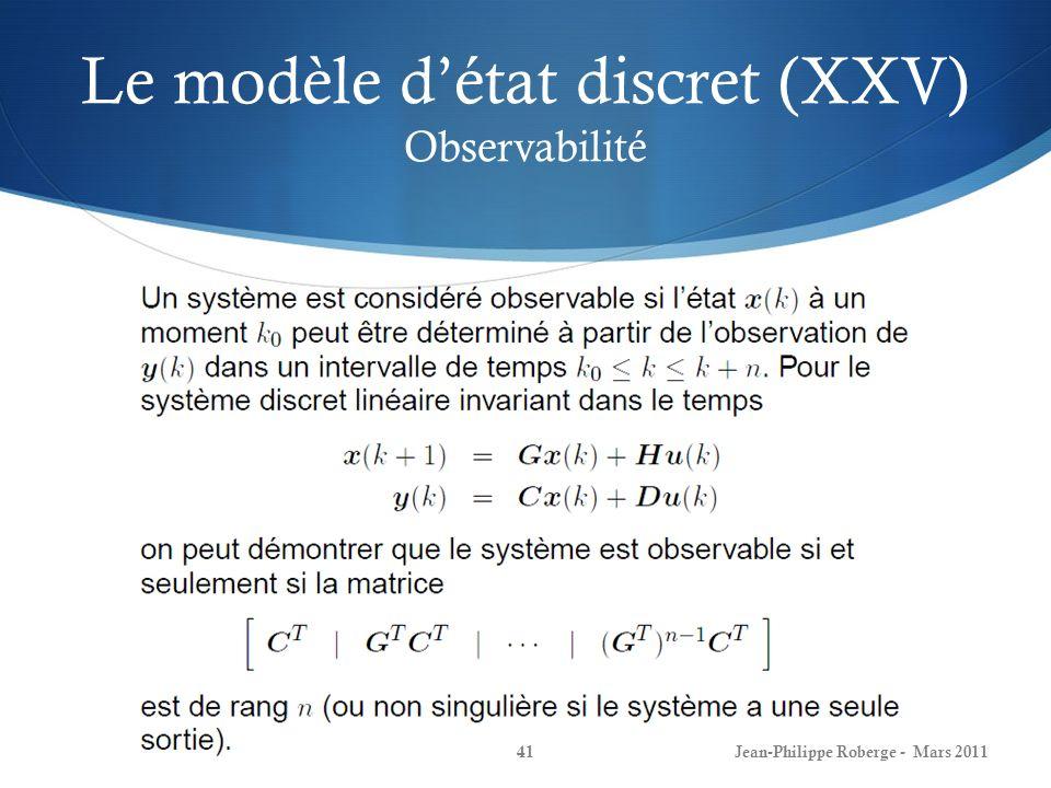 Le modèle d'état discret (XXV) Observabilité