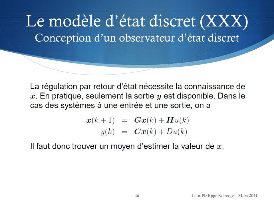 Le modèle d'état discret (XXX) Conception d'un observateur d'état discret