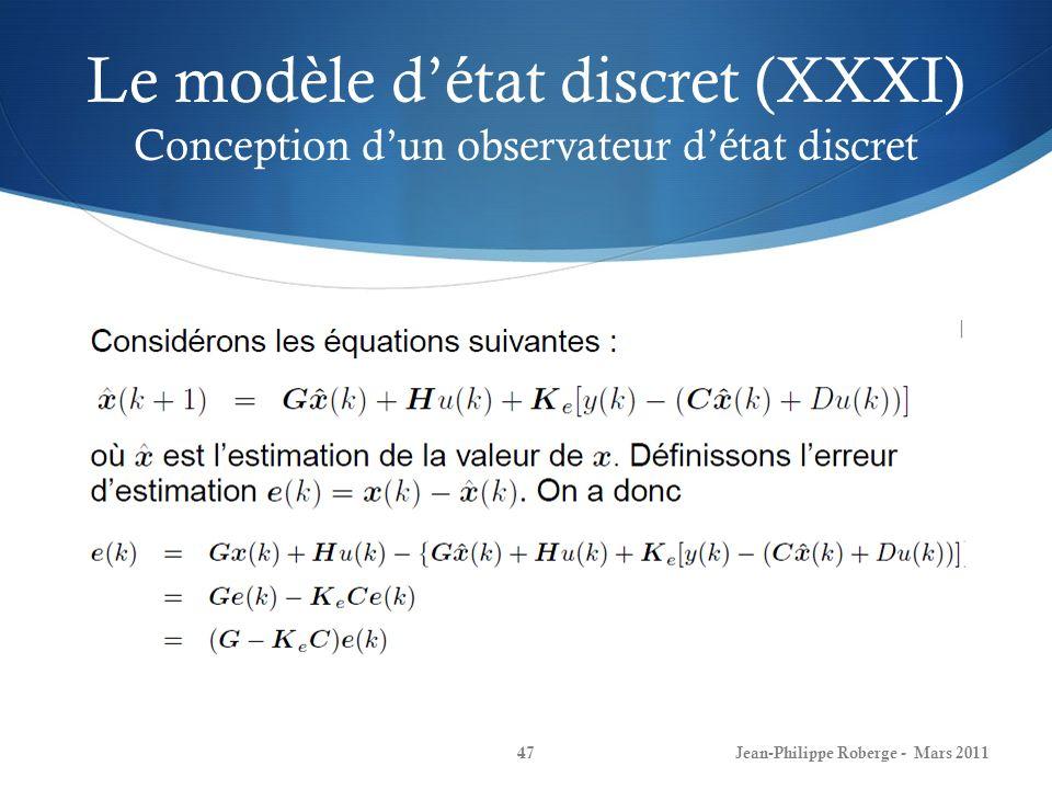 Le modèle d'état discret (XXXI) Conception d'un observateur d'état discret