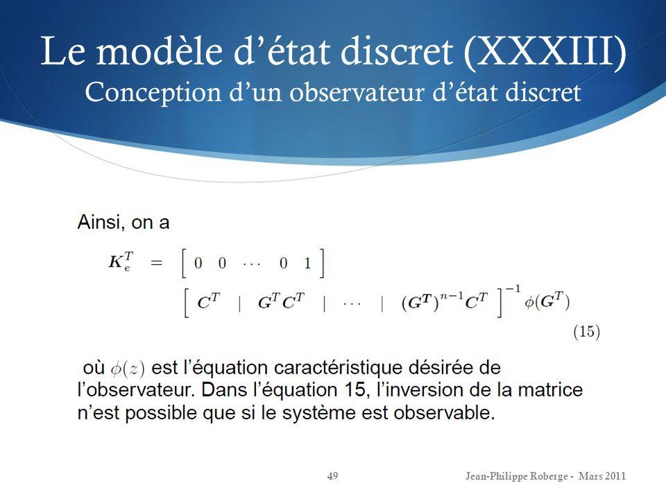 Le modèle d'état discret (XXXIII) Conception d'un observateur d'état discret