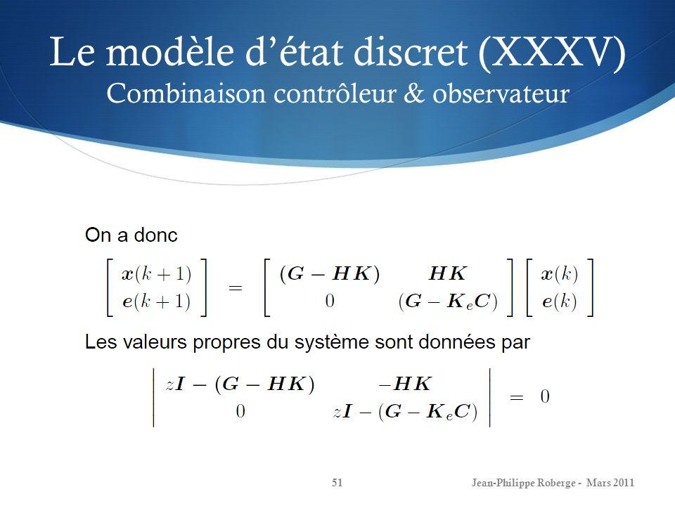Le modèle d'état discret (XXXV) Combinaison contrôleur & observateur