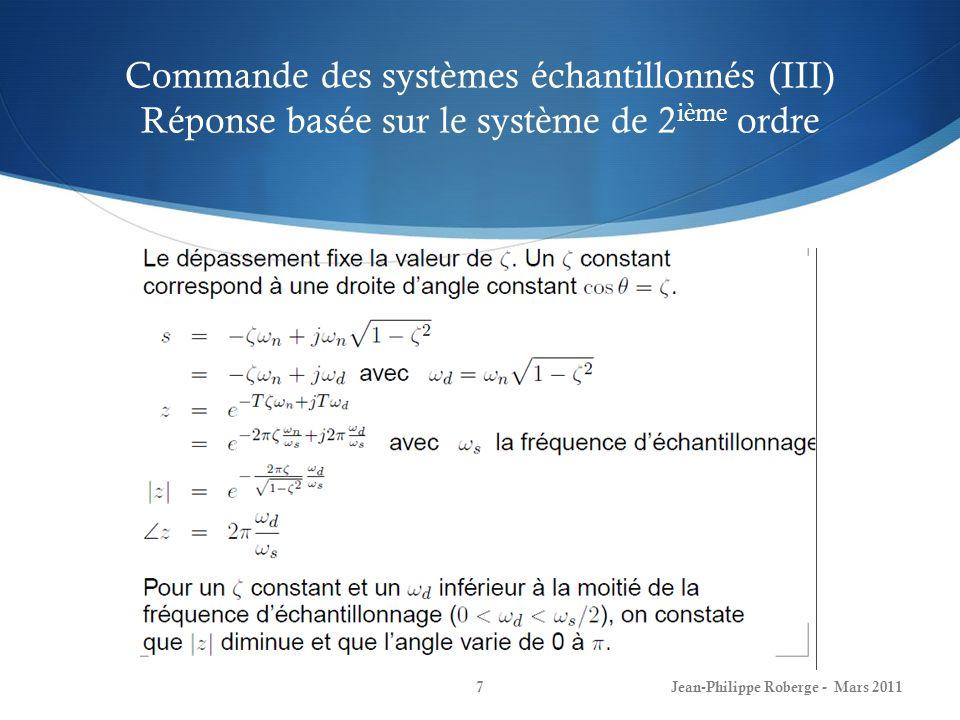 Commande des systèmes échantillonnés (III) Réponse basée sur le système de 2ième ordre