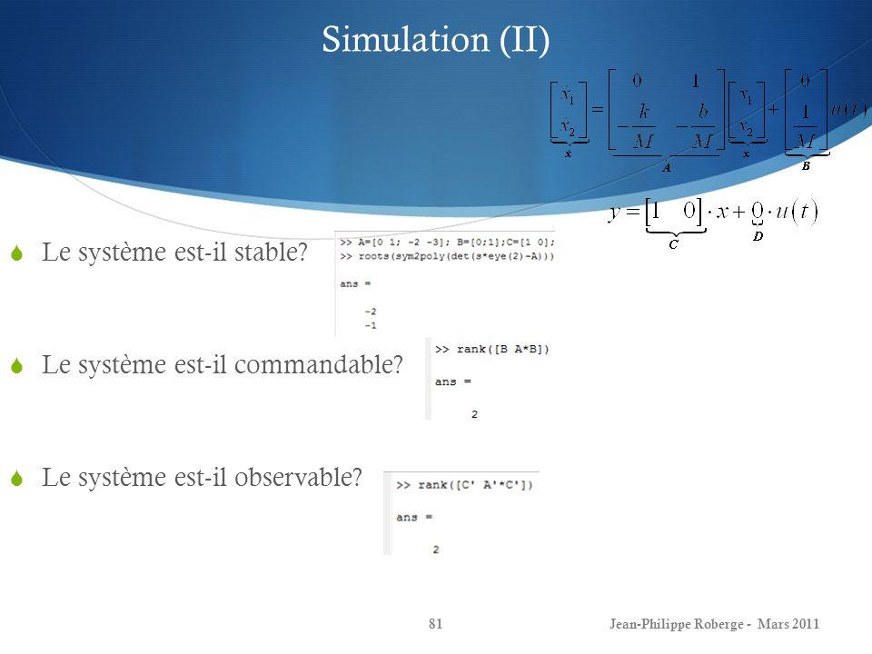 Simulation (II) Le système est-il stable