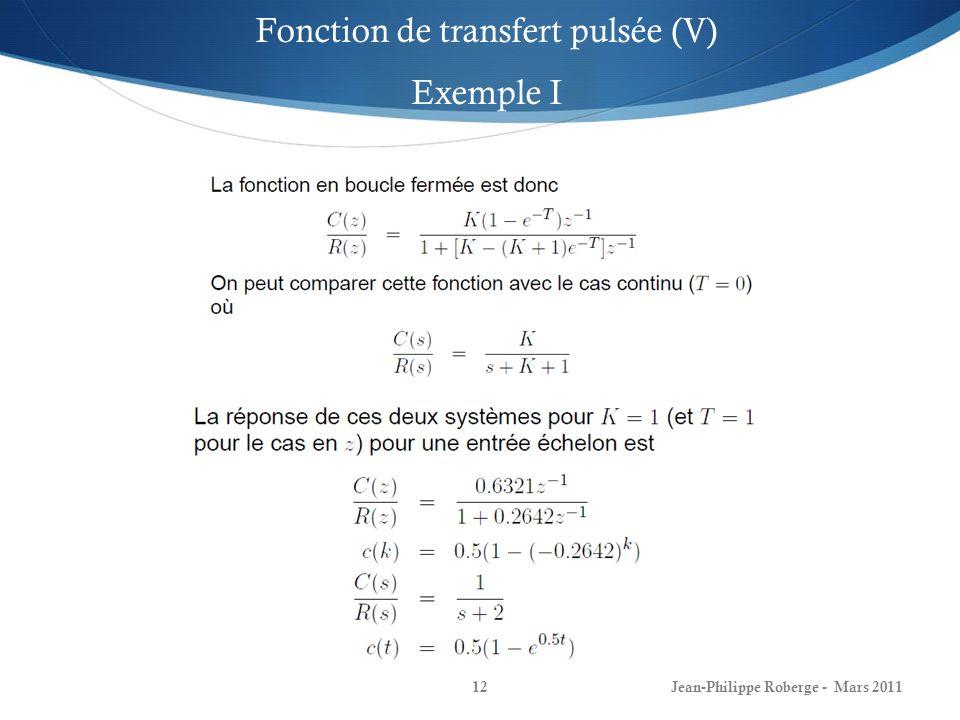 Fonction de transfert pulsée (V) Exemple I