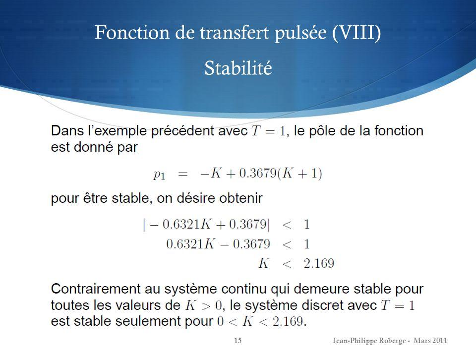 Fonction de transfert pulsée (VIII) Stabilité