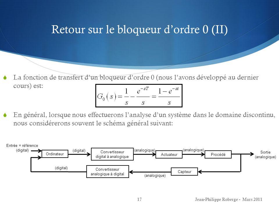 Retour sur le bloqueur d'ordre 0 (II)