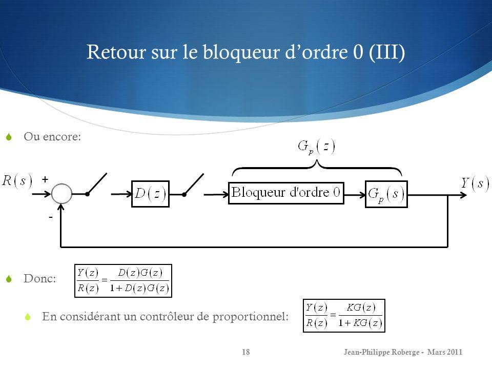Retour sur le bloqueur d'ordre 0 (III)