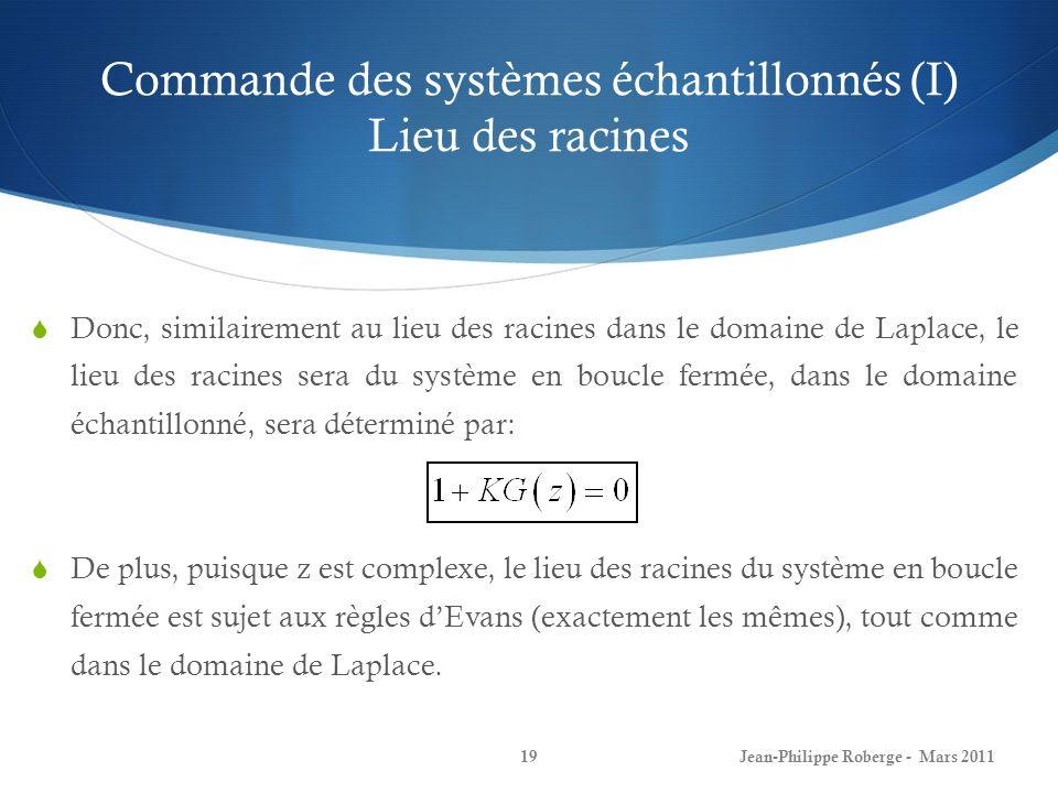 Commande des systèmes échantillonnés (I) Lieu des racines