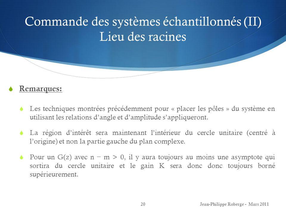 Commande des systèmes échantillonnés (II) Lieu des racines