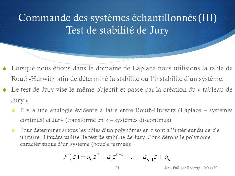 Commande des systèmes échantillonnés (III) Test de stabilité de Jury