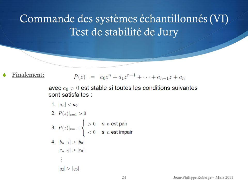 Commande des systèmes échantillonnés (VI) Test de stabilité de Jury