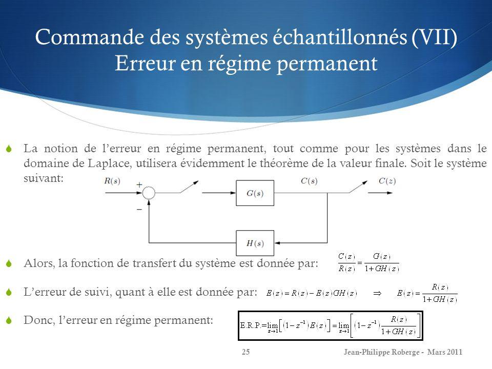Commande des systèmes échantillonnés (VII) Erreur en régime permanent