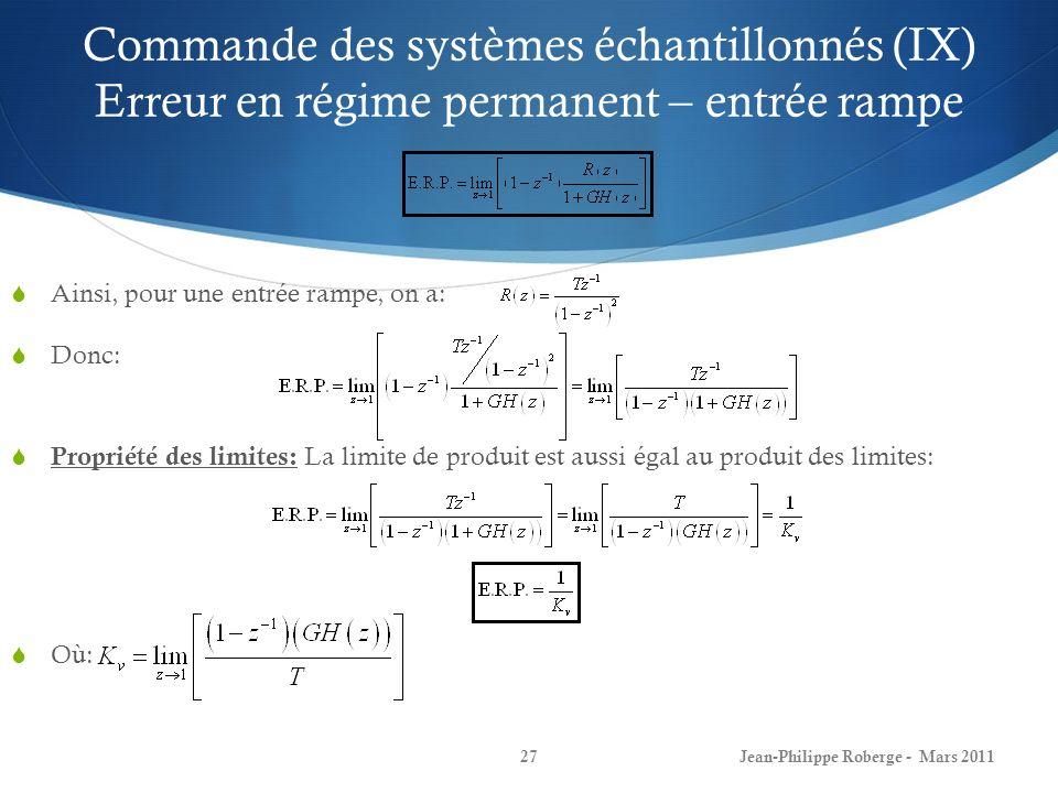 Commande des systèmes échantillonnés (IX) Erreur en régime permanent – entrée rampe